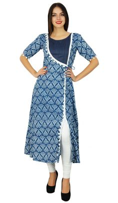 Women Dresses indian - Bimba Designer Angrakha Style Cotton Kurta Long A-Line Kurti Dress Indian Women Salwar Pattern, Kurta Patterns, Angrakha Style, Kurta Style, Churidar Designs, Kurta Designs Women, Dress Neck Designs, Blouse Designs, Kurtha Designs