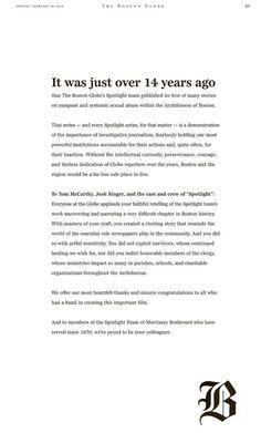 Mensaje de los periodistas de Sptolight a los actores de Spotlight…