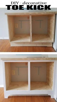 How to make a decorative Toe Kick - Woodworking woodworking bench woodworking bench bench base bench diy bench garage workbench bench plans bench plans australia bench plans roubo bench plans sketchup Woodworking For Kids, Easy Woodworking Projects, Popular Woodworking, Woodworking Furniture, Diy Wood Projects, Furniture Plans, Woodworking Tools, Diy Furniture, Woodworking Articles