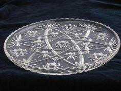 Torte serving plate vintage anchor hocking prescut star pattern glass - Duncan Miller Clear Hobnail Pressed Glass Punch Bowl Set