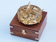 """Solid Brass Round Sundial Compass w/ Rosewood Box 6"""""""