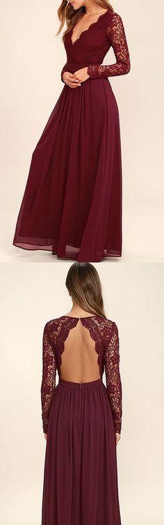 V-neck Long Sleevs Dark Burgundy Lace Chiffon Prom Dress Evening Dress PG409 #bridesmaid #dress #prom #pgmdress #fashion