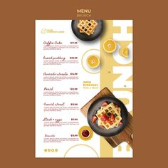 Menu template with brunch theme Free Psd Food Menu Template, Restaurant Menu Template, Restaurant Menu Design, Seafood Restaurant, Menu Templates, Brochure Template, Food Menu Design, Food Poster Design, Cafe Design