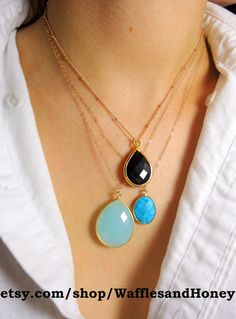Large Calcedony Drop Necklace by WafflesandHoney on Etsy, $64.00