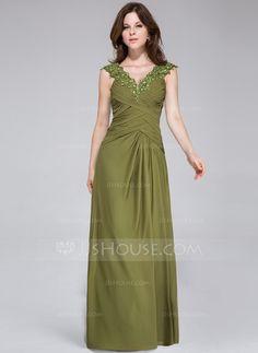 Abendkleider - $136.99 - A-Linie/Princess-Linie V-Ausschnitt Bodenlang Chiffon Abendkleid mit Rüschen Spitze Perlen verziert (008026213)