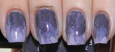 dry brush strokes smoky purple nail art