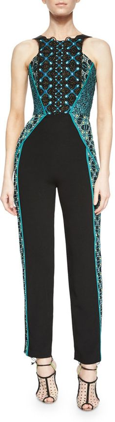Peter Pilotto Embroidered Lace Sleeveless Jumpsuit