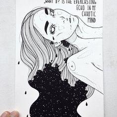 """⭐️ """"what if?"""" is the everlasting echo in my chaotic mind ⭐️ photo reference: @xenia.lau ❤️ #art #artsy #artist #artwork #artistsoninstagram #artlover #design #zeichnen #zeichnung #kunst #kunstliebe #künstler #makearteveryday #instaart #illustration #illustrator #edding #copicmultiliner #dinasaurusart #melbourneartist #germanartist #blackworkillustrations #quote #blackworknow #blackflashwork #iblackwork #stars #galaxy #love #heartbreak"""