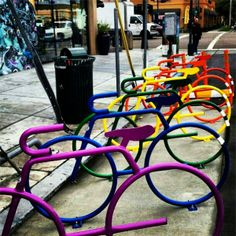 There's no mistaking these racks as anything other than a secure place for your ride. Brightly coloured and bike shaped, pretty much a give away really. We think these are so cool and so funky.