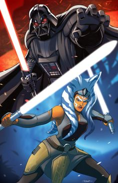 Star Wars Darth Vader v. Ashoka by Dan-the-artguy.deviantart.com on @DeviantArt
