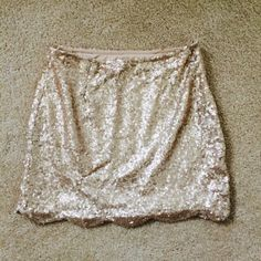 Gold Sequin Mini Skirt Omg amazing for New Year's Eve! Or any party really!! I wore this with a white tank for a flirty casual outfit too. Dress up or down! The scalloped hem is adorable!! Tobi Skirts Mini