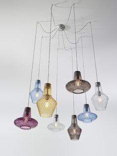 Blown glass pendant lamp ROMEO E GIULIETTA by Zafferano design Federico de Majo