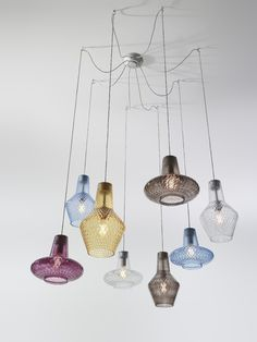 Blown glass pendant lamp ROMEO E GIULIETTA by Zafferano design Federico de Majo