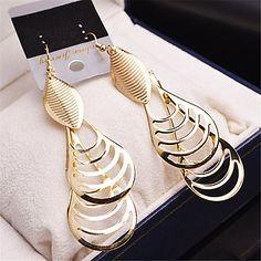 New Fashion Water Drop Earring Women Vintage Gold/Silver Zinc Alloy Long Dangle Earrings brinco Party Jewelry 5233697 2017 – $2.85