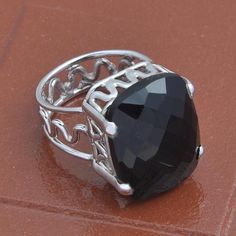 925 SOLID STERLING SILVER DESIGNER BLACK ONYX CHAKER CUT RING 7.86g DJR3678 #Handmade #Ring