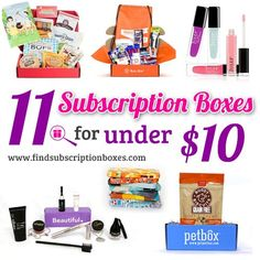 11 Subscription Boxes You Can Try For Under $10! Get great deals on popular boxes and find new boxes you can try for less than $10!