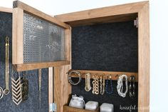 and hide all your jewelry with this beautiful DIY wall jewelry organizer. The front of the jewelry cabinet is a modern wood sign that you can put any design on. And the inside is full of organization for necklaces, earrings, bracelets and more. Jewelry Wall, Jewelry Organizer Wall, Diy Jewelry Holder, Wall Organization, Jewelry Armoire, Jewellery Storage, Jewelry Organization, Jewellery Display, Diy Jewelry Cabinet
