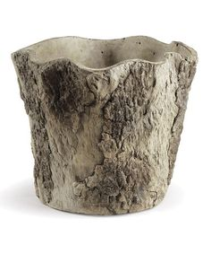 This Medium Millcreek Scalloped Cachepot is way cool! Also from concrete, but what did they do for the texture and scalloped edge? This will require a DIY experiment and lots of cement!  #zulilyfinds