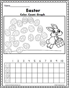 Easter egg math graphing activity for Kindergarten or preschool. Color, count, and graph the eggs.