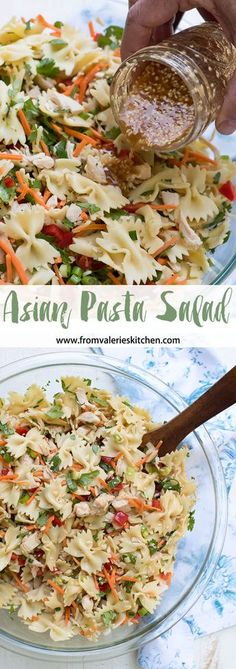 This Asian Pasta Salad has a satisfying crunchy texture and a completely addictive sesame-soy dressing that will have everyone coming back for seconds! This Asian Pasta Salad has a satisfying crunchy texture and a completely addicti… Asian Pasta Salads, Pasta Salad Recipes Cold, Vegetarian Pasta Salad, Pasts Salad Recipes, Pasta Salad With Chicken, Healthy Pasta Salad, Cold Pasta Salads, Cooked Chicken, Easy Pasta Salad