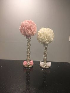 PLEASE BE ADVISE MY SHOP WILL BE CLOSED FROM JUNE 18 UNTIL AUGUST 18, 2018 PLEASE PLACE ANY ORDERS PRIOR TO JUNE 5, 2018 Rose Foam Flower Centerpiece with Glass Candlestick. This centerpiece is so elegant and beautifully crafted, it would be a beautiful addition to any table for