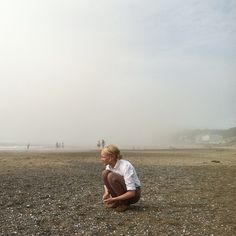 foggy beach combing