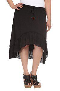 Black Hi-Lo Flounce Skirt | Clearance