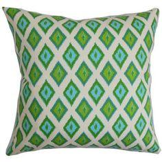 "The Pillow Collection Ipomens Cotton Throw Pillow Color: Grasshopper, Size: 22"" x 22"""