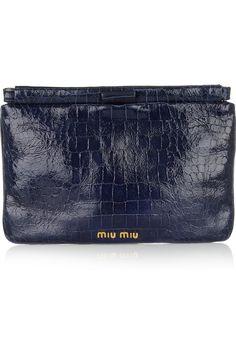 Miu Miu|Croc-effect patent-leather clutch|NET-A-PORTER.COM