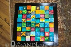 """Watercolor art project-each square is about 3.5"""" and they aredifferent heights."""