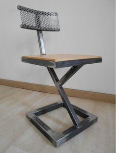 Discover thousands of images about Chaise design metal brut bois style industriel artisanal unique