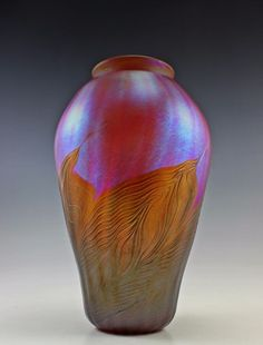 Glamorous Bohemian Art Deco Iridescent Glass Vase