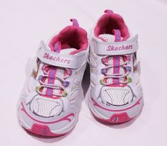 SKECHERS TODDLER BABY GIRLS WHITE PINK LEATHER VELCRO SHOES SIZE US 6.5 $60 NEW #SKECHERS