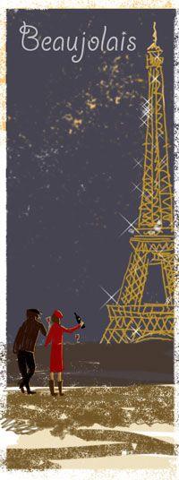 Paris and Beaujolais Beaujolais Nouveau, Le Beaujolais, French Homes, Wine Poster, Romantic Paris, The Secret World, Illustration Art, Illustrations, French Wine