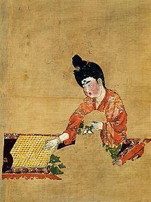 Go - Mujer jugando al go (Dinastía Tang ca.744) Descubierta en las Tumbas de Astana