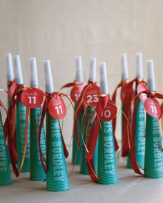 For a fun touch, use noisemakers as escort cards like this bride and groom did at their Seattle fête.