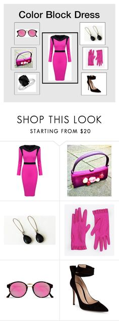 """Color Block Dress: Fashion Trend"" by paulinemcewen ❤ liked on Polyvore featuring WithChic, Balenciaga, RetroSuperFuture, Gianvito Rossi and Blue Nile"
