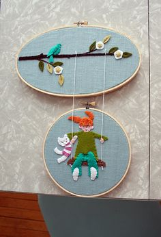 Amazing embroidered diptych