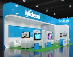 Ivideon on Behance Exhibition Stall, Exhibition Booth Design, Exhibit Design, Exhibition Ideas, Stage Backdrop Design, Expo Stand, Stand Design, Trade Show, Retail Design