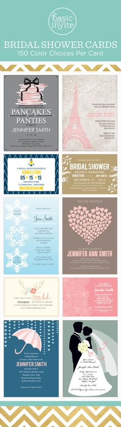 Find the perfect bridal shower invitation with each card available in over 150 colors.