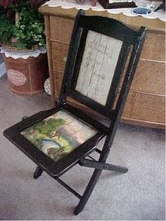 My painted wooden folding chair.
