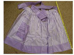 2  Ladies Vintage Lavender-Lilac Stripes + Grey/Black aprons handmade