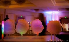 cotton candy centerpiece, with glowsticks to make it glow!