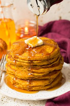 The Best Pumpkin Pancakes - Cooking Classy. My notes: these had a mild pumpkin flavor and are super fluffy with a delicate texture. Pumpkin Recipes, Fall Recipes, Holiday Recipes, Great Recipes, Favorite Recipes, Yummy Recipes, Pumpkin Pancakes, Pancakes And Waffles, Breakfast Pancakes