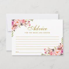 Watercolor Floral Pink Blush Gold Wedding Advice Card Size: x Color: Matte. Wedding Rsvp, Gold Wedding, Wedding Stationery, Elegant Wedding, Dream Wedding, Blush And Gold, Blush Pink, Wedding Advice Cards, Wedding Ideas