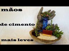 DIY.Vaso com mãos de cimento e isopor (maceta en forma de manos de cemento) - YouTube