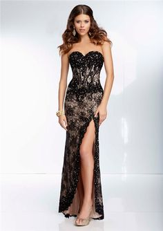 Sexy Sheath Sweetheart Corset Back Long Black Lace Beaded Prom Dress With Slit