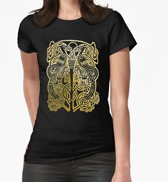 """Celtic gold owl width birds on vine tree"" T-Shirts & Hoodies by Abricotti Chiffon Tops, Celtic, Vines, Cool Designs, Classic T Shirts, Owl, Hoodies, Mens Tops, Stuff To Buy"