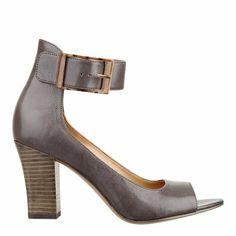 """Peep toe pump with adjustable ankle strap closure on a 3"""" heel."""