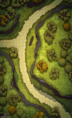 Forest Path Battle Map for Dungeons & Dragons and Pathfinder - PnP Dungeons And Dragons Homebrew, D&d Dungeons And Dragons, Dnd World Map, Pathfinder Maps, Forest Map, Rpg Map, Dungeon Maps, Dungeon Tiles, Grid